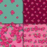 Bezszwowy wzoru set z różowymi peoniami Zdjęcia Royalty Free