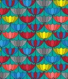 Bezszwowy wzoru tło z retro parasolami, Powtarza Zdjęcia Royalty Free
