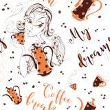 bezszwowy wzoru wypij kawę dziewczyny Przerwa Mój sen Elegancki literowanie Kawowy garnek i filiżanka kawy Kawa ilustracji