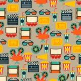 Bezszwowy wzór filmu kino i elementy Obrazy Stock