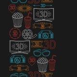 Bezszwowy wzór filmu kino i elementy Fotografia Stock