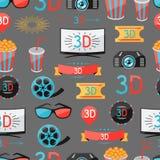 Bezszwowy wzór filmu kino i elementy Fotografia Royalty Free