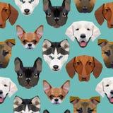 Bezszwowy wzór - poligonalni psy Fotografia Royalty Free