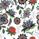 Bezszwowy wzór stylizowani kwiaty w retro stylu Obrazy Royalty Free
