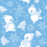 Bezszwowy wzór z bałwanami, płatki śniegu, jedliny Zdjęcie Royalty Free