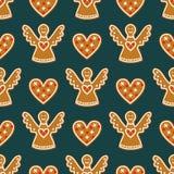Bezszwowy wzór z Bożenarodzeniowymi piernikowymi ciastkami - aniołowie i sympatie Obrazy Stock