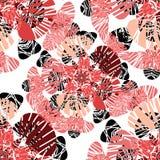 Bezszwowy wzór z czerwonymi kwiatów pączkami Zdjęcia Royalty Free