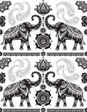 Bezszwowy wzór z dekorującymi słoniami Obrazy Stock