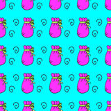 Bezszwowy wzór z doodle prezenta pudełkiem na błękitnym tle Zdjęcie Royalty Free