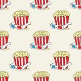 Bezszwowy wzór z doodle wystrzału kukurudzy gwiazdami i koszami Zdjęcia Royalty Free
