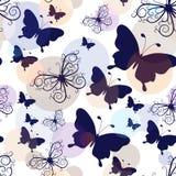 Bezszwowy wzór z graficznymi roczników motylami Zdjęcia Royalty Free