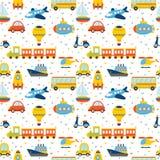 Bezszwowy wzór z kolorowym kreskówka transportem Śliczny backgroun Fotografia Stock