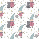 Bezszwowy wzór z ślicznym gnomem i kotem również zwrócić corel ilustracji wektora Zdjęcia Royalty Free