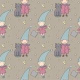 Bezszwowy wzór z ślicznym gnomem i kotem również zwrócić corel ilustracji wektora Obrazy Stock