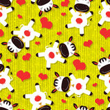 Bezszwowy wzór z ślicznymi krowami Obrazy Stock