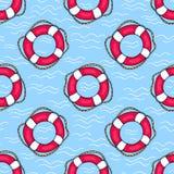 Bezszwowy wzór z lifebuoys Obrazy Royalty Free