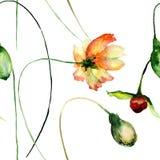 Bezszwowy wzór z oryginalnymi kwiatami Fotografia Royalty Free