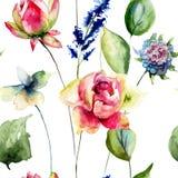 Bezszwowy wzór z oryginalnymi kwiatami Zdjęcie Stock