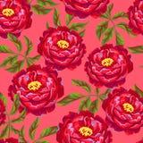 Bezszwowy wzór z peonia kwiatami Jaskrawi liście i pączki Obrazy Royalty Free