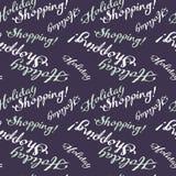 Bezszwowy wzór z & x22; Wakacyjny Shopping& x22; tekst Fotografia Royalty Free
