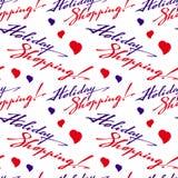 Bezszwowy wzór z & x22; Wakacyjny Shopping& x22; tekst Zdjęcia Royalty Free
