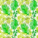Bezszwowy wzór z zielonymi liśćmi Obrazy Royalty Free