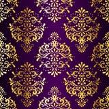 bezszwowy złocisty w zawiły sposób deseniowy purpurowy sari Zdjęcia Stock