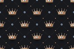 Bezszwowy złoto i królewiątko korona z diamentem tupoczemy Zdjęcie Royalty Free