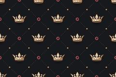Bezszwowy złoto i królewiątko korona z diamentem tupoczemy Fotografia Royalty Free