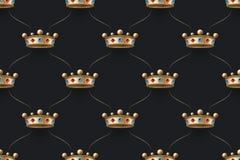 Bezszwowy złoto wzór z królewiątko koroną z diamentem na ciemnego czerni tle również zwrócić corel ilustracji wektora Fotografia Stock