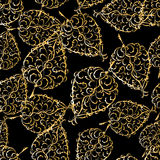 bezszwowy złoty tło liść Fotografia Stock