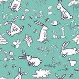 Bezszwowy z królikami Obrazy Royalty Free