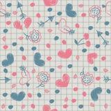 Bezszwowy z malującymi sercami na prześcieradle notatnik. Fotografia Stock