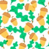 Bezszwowy zabawa wzór z ślicznym acorn ilustracji