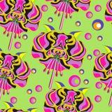 Bezszwowy zielony tło z varicoloured kwiatami styl wystrzał sztuka royalty ilustracja