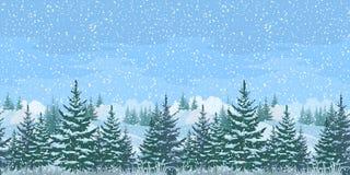 Bezszwowy zima lasu krajobraz Obraz Royalty Free
