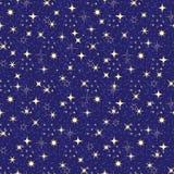 Bezszwowy zmrok - błękita wzór z złotymi gwiazdami ilustracja wektor
