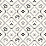 Bezszwowy zwierzę wzór łapa odcisk stopy w ramie Obraz Royalty Free