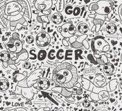 Bezszwowy zwierzęcy gracza piłki nożnej wzór Zdjęcie Royalty Free