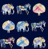 Bezszwowy zwierzęcy motywu wzór z marynarka wojenna kolorem ilustracja wektor