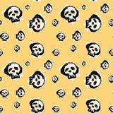 Bezszwowych czaszek doodle wzoru grunge tekstylna tekstura Zdjęcia Stock
