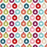 Bezszwowych Deseniowych Graficznych Bożenarodzeniowych piłek ikon Różny kolor ilustracja wektor