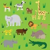 Bezszwowych retro lata pięćdziesiąte zoo zwierząt afrykański wzór Zdjęcia Royalty Free