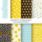 8 Bezszwowych wzorów - confetti i polki kropka Zdjęcie Royalty Free