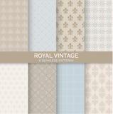 8 Bezszwowych wzorów - Królewski rocznika set royalty ilustracja