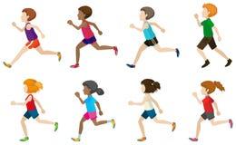 Beztwarzowy dzieciaków biegać ilustracja wektor