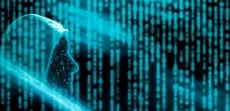 Beztwarzowy kapturzasty anonimowy komputerowy hacker royalty ilustracja