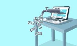 Bezwolny Online dochód Internetowy pojęcie Fotografia Stock