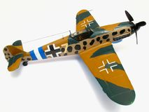 Bf109G Plane Model. Photo of 1/48 scale model German Bf109G WWII fighter plane built by the photographer from a kit.  This aircraft was produced in many numbers Royalty Free Stock Photography