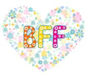BFF. Best Friends Forever. Greeting card. Royalty Free Stock Photos